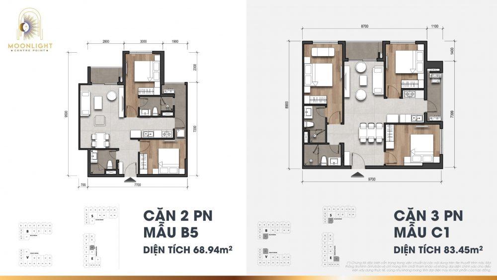 căn hộ 2 phòng ngủ và 3 phòng ngủ moonlight centre point
